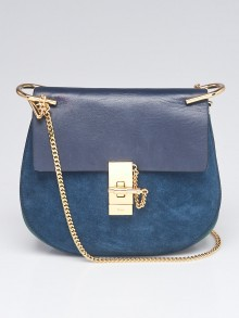 Chloe Navy/Green Suede and Lambskin Leather Small Drew Bag
