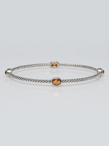 David Yurman Sterling Silver Cable and Citrine Four Station Bracelet