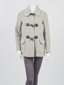 Burberry London Grey Wool Toggle Coat Size M