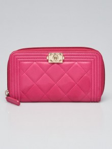 Chanel Pink Quilted Lambskin Leather Boy Zippy Compact Wallet