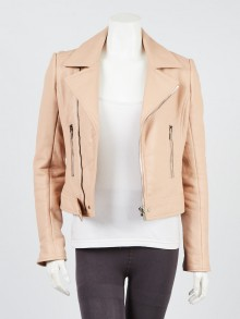 Balenciaga Light Pink Lambskin Leather Jacket Size 6/38