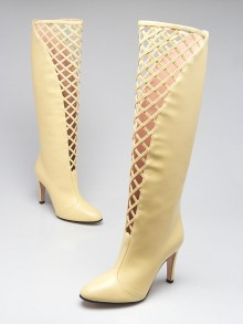 Gucci Ivory Leather Lattice Knee-High Boots Size 8/38.5
