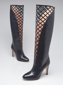 Gucci Black Leather Lattice Knee-High Boots Size 6.5/37