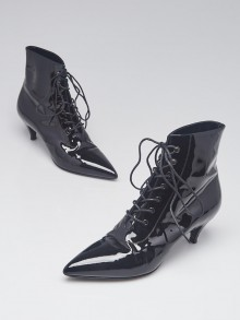 Yves Saint Laurent Black Patent Leather Lace Up Ankle Booties Size 6.5/37