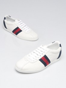Gucci White GG Embossed Leather Vintage Web Sneakers Size 4/34.5