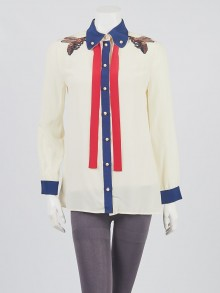 Gucci Ivory/Blue/Red Silk Embroidered Blouse Size 6/40