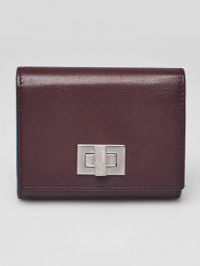 Fendi Burgundy Leather Peekaboo Accordion Compact Wallet - 8M0370