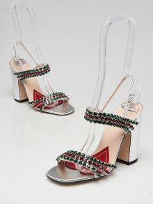 Gucci Silver Leather and Crystal Embellished Block Heel Sandals Size 5/35.5