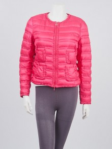 Moncler Pink Quilted Polyester Down Lissy Jacket Size 2/M