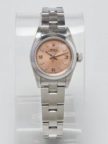 Rolex 26mm Stainless Steel Pink Dial Ladies Datejust Watch