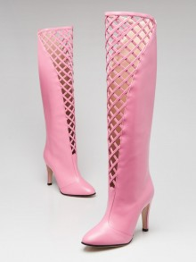 Gucci Pink Leather Lattice Knee-High Boots Size 5.5/36