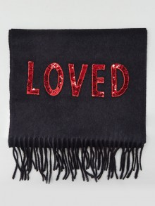 Gucci Navy Silk/Cashmere Loved Fringe Scarf