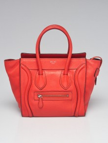 Celine Red Calfskin Leather Micro Luggage Tote Bag