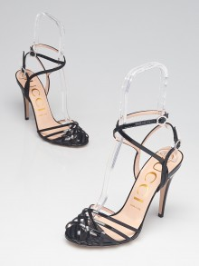 Gucci Black Patent Leather Crystal Ankle Strap Sandals Size 8.5/39