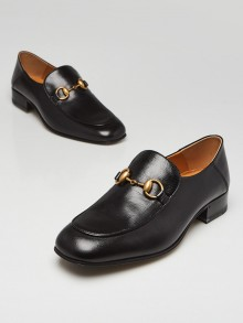 Gucci Black Leather  Horsebit Quentin Loafers Size 8.5/39