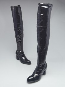 Gucci Black Patent Leather Thigh High Tall Boots Size 8/38.5