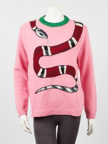 Gucci Pink/Green Wool Embroidered Kingsnake Sweater Size S
