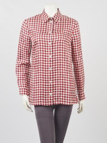 Gucci Red/White Silk Circle Print Button Up Blouse Size 8/42