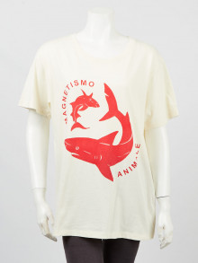 Gucci Ivory Cotton Shark Magnetism Animale T-Shirt Size S