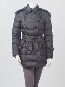 Burberry Britt Black Nylon Quilted Down Puffer Jacket Size S