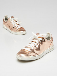 Louis Vuitton Rose Gold Patent Leather Front Row Sneakers Size 5.5/36