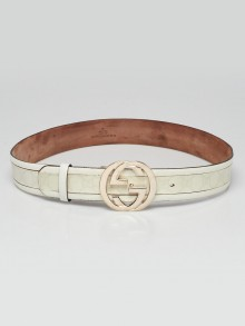 Gucci White GG Coated Canvas Gold Logo Buckle Belt Size 90/36