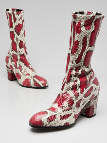 Gucci Red/Beige Python Mid Calf Boots Size 5.5/36