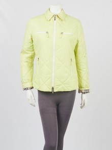 Burberry Light Green Diamond Quilted Polyester Jacket Size S