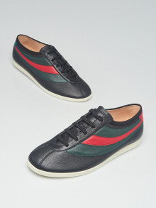 Gucci Black Leather Falacer Low Top Sneakers Men's Size 10