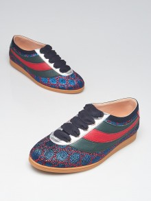 Gucci Blue/Red GG Falacer Lurex Web Sneakers Size 5.5/36