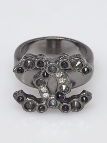 Chanel Ruthenium and Crystal CC Ring Size 6