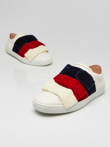 Gucci White Leather Velvet Bow Ace Sneakers Size 4/34.5