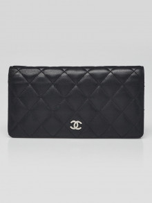 Chanel Black Quilted Lambskin Leather L Yen Wallet