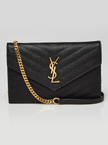 Yves Saint Laurent Black Chevron Quilted Grained Leather Envelope Wallet on Chain Bag