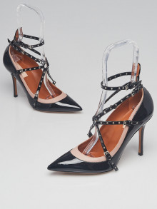 Valentino Black Patent Leather Grommet Studded Love Latch Ankle Wrap Pumps Size 9/39.5