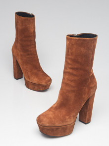 Gucci Brown Suede Platform Ankle Boots Size 5.5/36