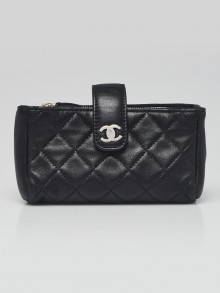Chanel Black Quilted Lambskin Leather CC O-Mini Phone Pouch