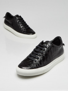 Givenchy Black Crocodile Stamped Leather Lace Up Urban Knots Sneakers Size 9.5/40