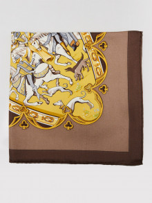 Hermes Yellow/Brown Silk La Vie A Cheval Square Scarf