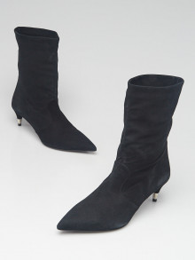 Prada Black Suede Pointed Toe Ankle Boots Size 4.5/35