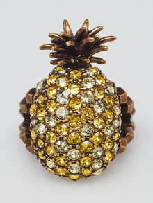 Gucci Jonquil and Topaz Crystal Studded Pineapple Ring Size 7.5