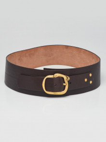 Gucci Brown Leather Wide Waist Belt Size 95/38