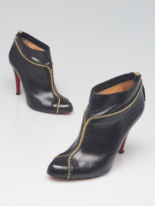 Christian Louboutin Black Smooth Calfskin Leather Zipper Ankle Booties Size 6/36.5