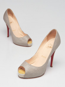 Christian Louboutin Light Grey Coated Canvas/Patent Leather Very Prive 120 Pumps Size 5.5/36