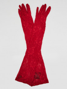Gucci Red Lace Long Sleeve Gloves Size 8/L