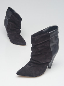 Isabel Marant Black Suede and Leather Lance Booties Size 6.5/37