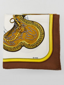 Hermes Brown/White 'Grand Apparat' Print Jacques Eudel 90cm Square Scarf