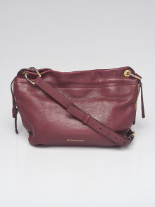Burberry Red Leather House Check Canvas Small Bingley Bucket Bag