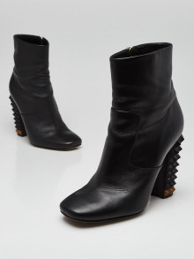 Fendi Black Leather Spiked Ankle Boots Size 6/36.5