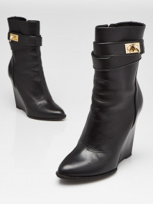 Givenchy Black Leather Shark-Lock Wedge Ankle Boots Size 6.5/37